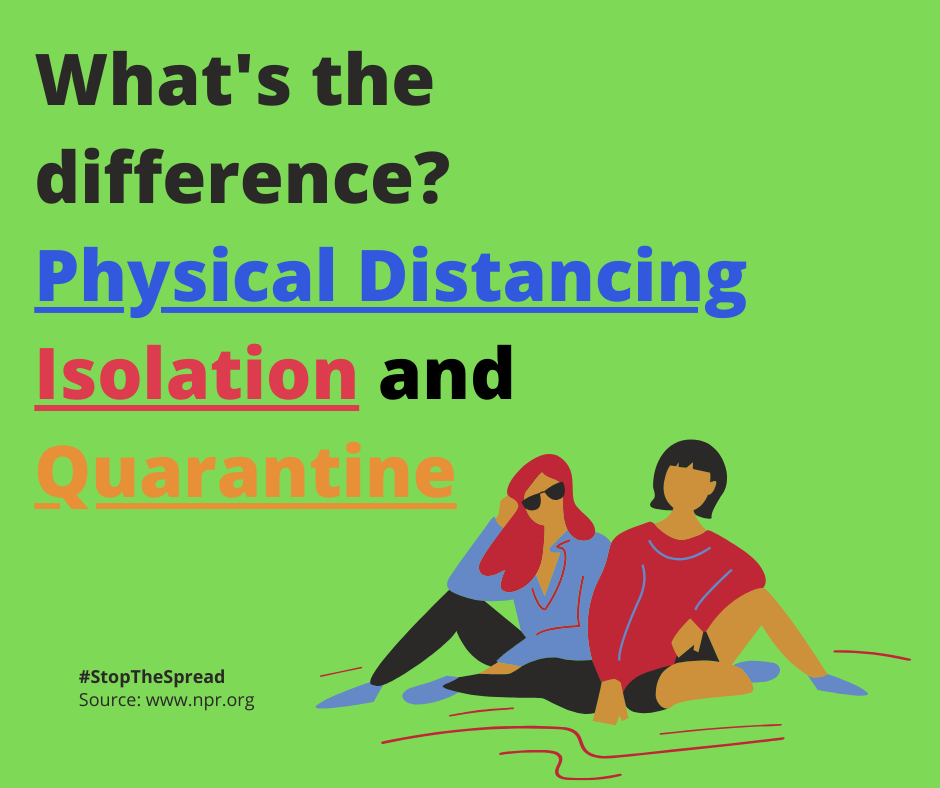 What's the difference?  Physical Distancing Isolation and Quarantine
